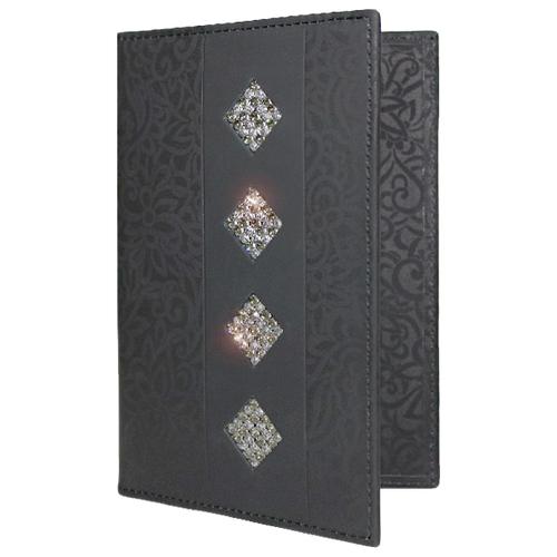 Обложка для паспорта женская натуральная кожа ОП-16 black stone Kniksen