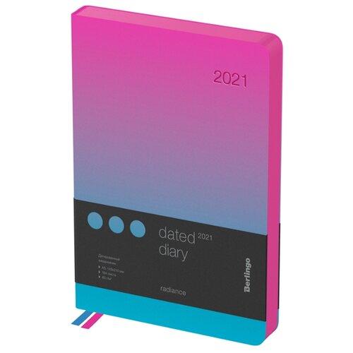 Ежедневник Berlingo Radiance датированный на 2021 год, искусственная кожа, А5, 184 листов, синий/розовый ежедневник brauberg senator датированный на 2021 год искусственная кожа а5 168 листов черный