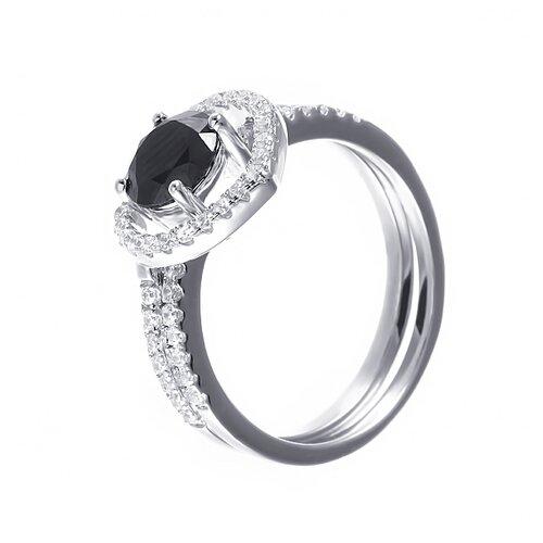ELEMENT47 Кольцо из серебра 925 пробы с кубическим цирконием R-F0321_KO_004_WG, размер 16.75
