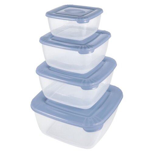 Plast Team Набор контейнеров квадратных Polar туманно-голубой контейнер пищевой plast team polar цвет лайм 6 л