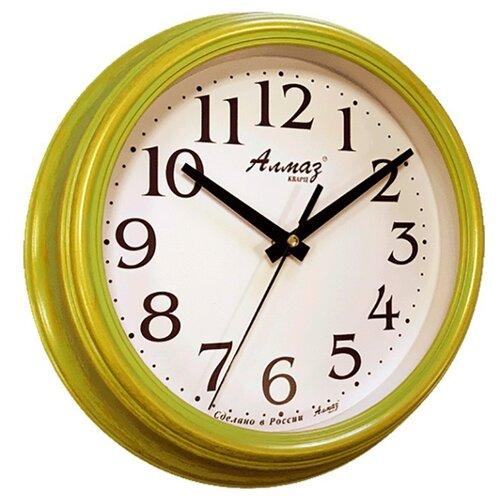 Часы настенные кварцевые Алмаз C19/C20 зеленый/белыйЧасы настенные<br>