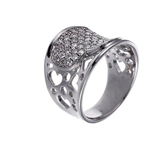 ELEMENT47 Широкое ювелирное кольцо из серебра 925 пробы с кубическим цирконием куб.цир115R_001_WG, размер 17