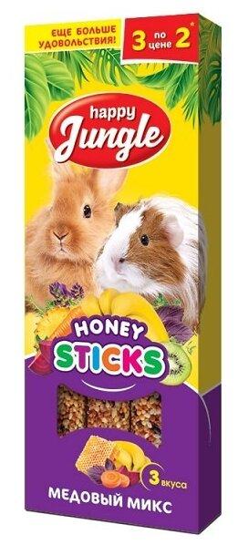 Лакомство для кроликов, грызунов Happy Jungle Honey sticks Медовый микс 3 вкуса