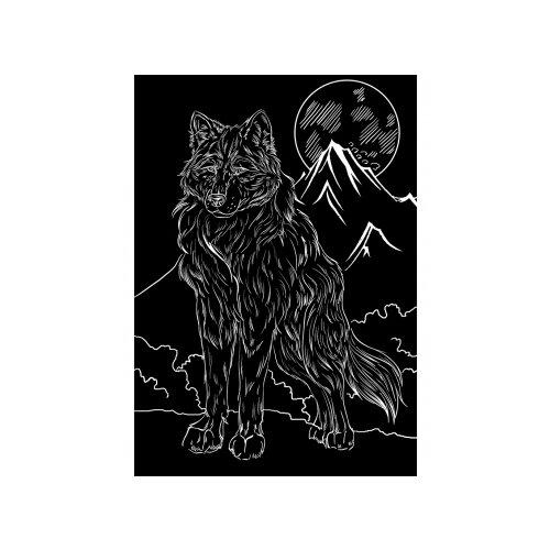 Фото - Гравюра Рыжий кот Волк и луна, в пакете с ручкой (Г-9407) серебристая основа гравюра рыжий кот зайчик в пакете с ручкой г 9449 цветная основа