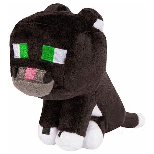 Плюшевый Дымчатый кот из майнкрафт Tuxedo Cat 23 см