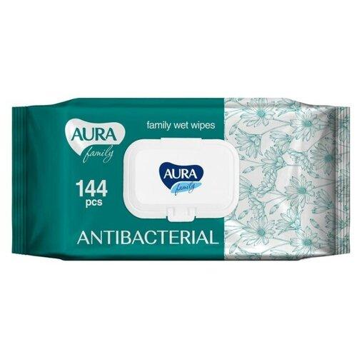 Купить Салфетки влажные Aura Family, антибактериальные, 144 шт