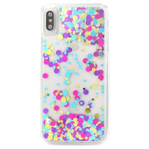 Прозрачный силиконовый чехол для (Эпл) iPhone X / XS Жидкий с пересыпающимися сердечками / Pastila (Разноцветные круги)