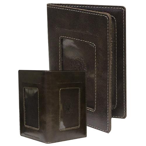Бумажник портмоне для документов водителя из кожи ОВ-4-A дымчато-коричневый Apache
