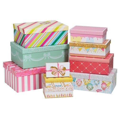 набор подарочных коробок ип выгодский денис владимирович микс 3 шт разноцветный Набор подарочных коробок Дарите счастье Торт, 10 шт. разноцветный