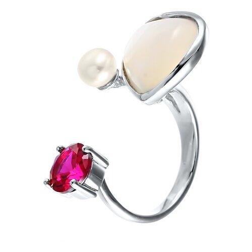 ELEMENT47 Кольцо из серебра 925 пробы с культивированным жемчугом, перламутром и рубинами выращенными ZR6917_KO_RUS_SH_WP_001_WG, размер 16.5- преимущества, отзывы, как заказать товар за 3224 руб. Бренд ELEMENT47