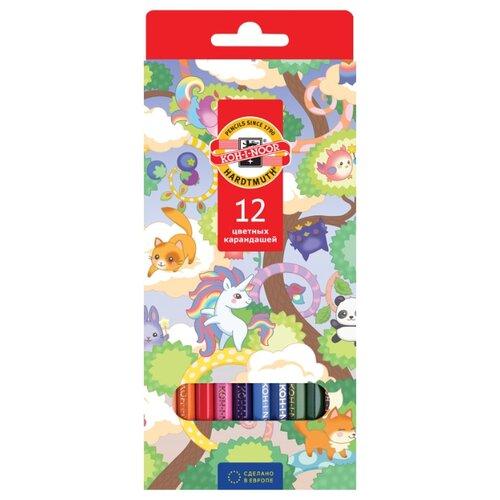 Купить KOH-I-NOOR Карандаши цветные Волшебный лес, 12 цветов (3552012037KS), Цветные карандаши
