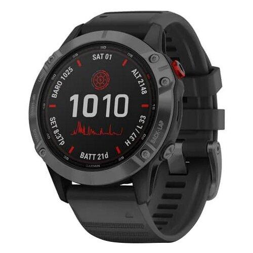Умные часы Garmin Fenix 6 Pro Solar, серый/черный умные часы garmin fenix 6x pro solar титановый с титановым браслетом серый