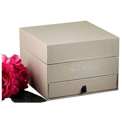 Коробка подарочная Yiwu Zhousima Crafts двухъярусная 20 х 14 х 20 см бежевый