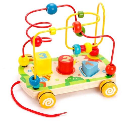 деревянные игрушки mapacha лабиринт сортер большой на колесиках Каталка-игрушка Mapacha Лабиринт-сортер (76675) бежевый/красный/синий