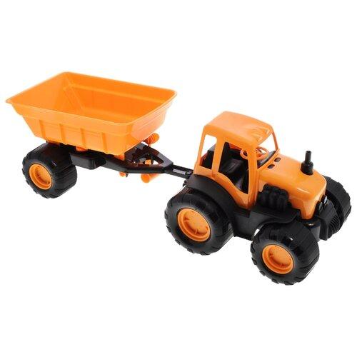 Купить Трактор ZEBRATOYS с прицепом Active в коробке (15-10174) 44 см оранжевый, Машинки и техника