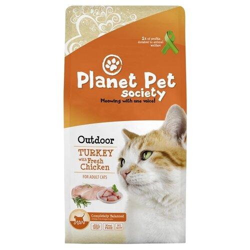 Сухой корм для кошек Planet Pet Society для живущих на улице, с курицей, с индейкой 7 кг