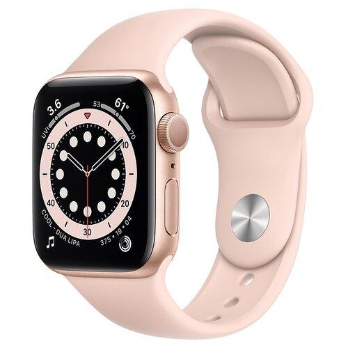 Умные часы Apple Watch Series 6 GPS 40мм Aluminum Case with Sport Band, золотистый/розовый песок часы apple watch series 5 gps 44mm aluminum case with sport band золотистый розовый песок