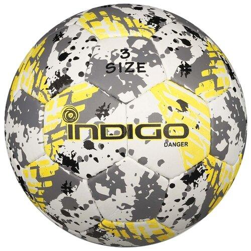 Футбольный мяч Indigo DANGER IN032 белый/серый/желтый 3Мячи<br>