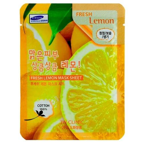 3W Clinic Тканевая маска с экстрактом лимона Fresh Lemon Mask Sheet, 23 мл  - Купить