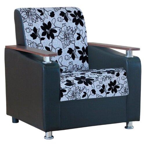 Классическое кресло Шарм-Дизайн Мелодия ДП №1 размер: 79х84 см, обивка: комбинированная, цвет: шенилл серый цветы