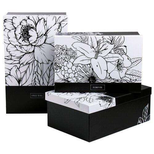 Фото - Набор подарочных коробок Дарите счастье Черно-белый, 3 шт. черный/белый набор подарочных коробок дарите счастье универсальный 10 шт бежевый белый черный