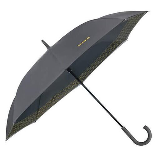 Зонт-трость полуавтомат Samsonite Up Way (8 спиц, ручка-крюк) серый / желтый