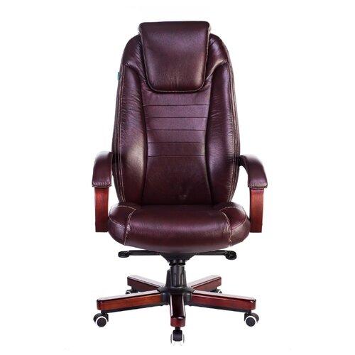 Компьютерное кресло Бюрократ T-9923WALNUT для руководителя, обивка: натуральная кожа, цвет: коричневый компьютерное кресло бюрократ t 9927walnut low для руководителя обивка натуральная кожа цвет черный