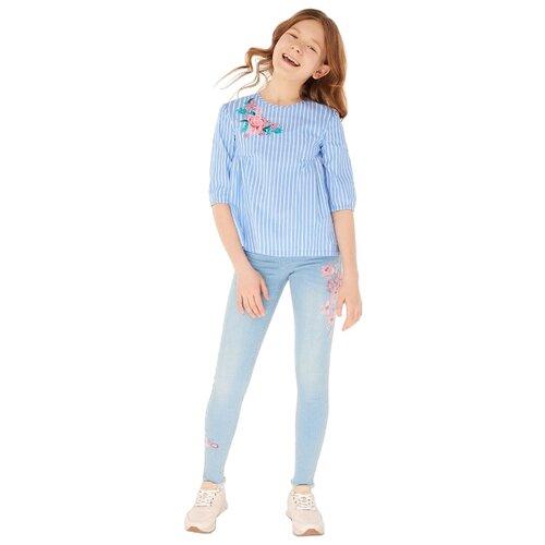 Купить Блузка INFUNT размер 140, синий, Рубашки и блузы