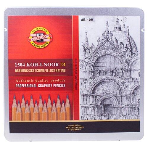 Купить KOH-I-NOOR Набор чернографитных карандашей 1500, 24 штуки 8B-10H (1504024001PL), Карандаши