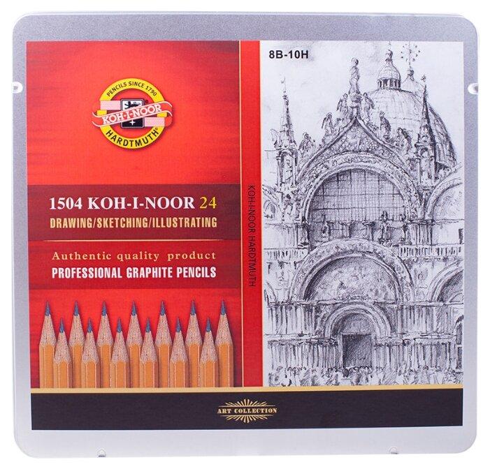 KOH-I-NOOR Набор чернографитных карандашей 1500, 24 штуки 8B-10H (1504024001PL)