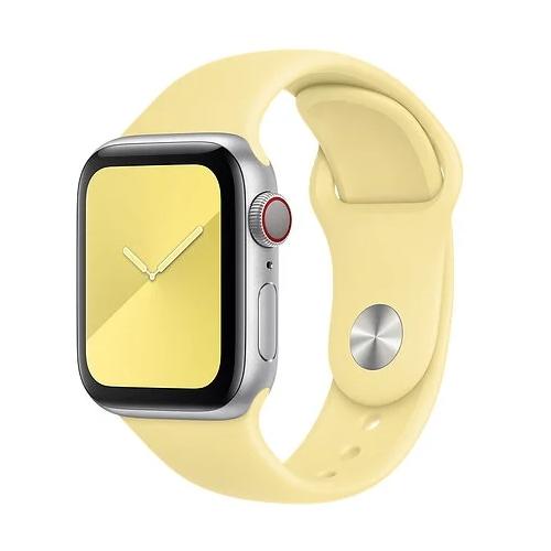 Gurdini Ремешок силиконовый для Apple Watch 38/40mm lemon cream