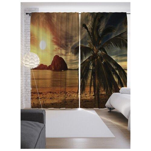 шторы stickbutik фотошторы площадь сан марко на закате Фотошторы JoyArty Пляж при закате на ленте 265 см бежевый/коричневый/серый