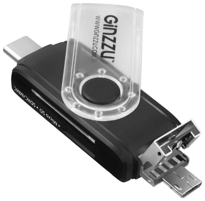 Картридер Ginzzu GR-325B OTG черный Type C/microUSB/USB2.0, SD/SDXC/SDHC/MMC microSDXC/SDXC/SDHS