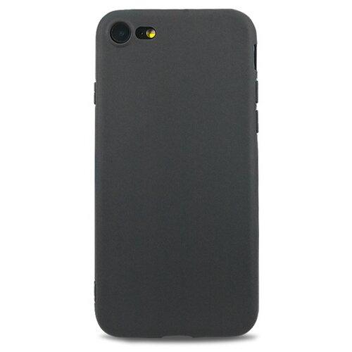Матовый гибкий чехол для Apple iPhone 7, iPhone 8 и iPhone SE 2020 / Силиконовый упругий чехол - накладка на Эпл Айфон 7, Айфон 8 и Айфон SE 2020 / Чехол с покрытием soft-touch и защитой от падений (Черный)