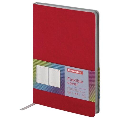 Ежедневник BRAUBERG Flex недатированный, искусственная кожа, А5, 136 листов, красный еженедельник brauberg instinct датированный на 2021 год искусственная кожа а5 64 листов красный