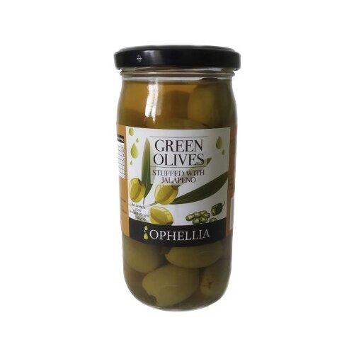 Ophellia Зеленые оливки фаршированные перцем халапеньо, 350 г