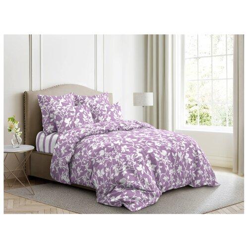 Постельное белье 2-спальное Ночь Нежна Нежный силуэт 70х70 см, поплин лиловый фото