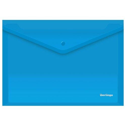 Купить Berlingo Папка-конверт на кнопке A4, пластик 180 мкм, 10 штук синий, Файлы и папки