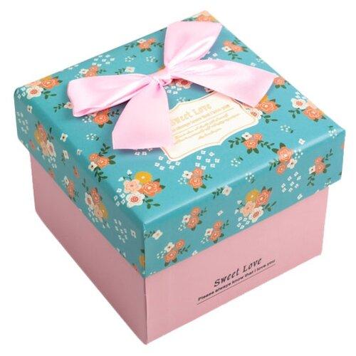 Коробка подарочная Yiwu Zhousima Crafts квадратная 11 х 8.5 х 11 см розовый/бирюзовый