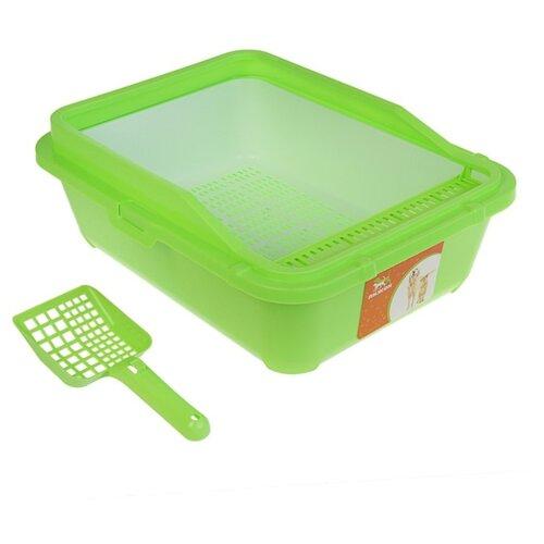 Туалет-лоток для кошек Пижон 3262771\3262772 51х40х18.5 см зеленый