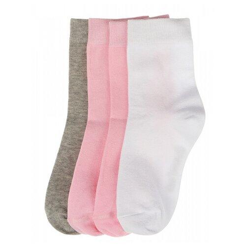 Носки Oldos комплект из 4 пар, размер 23-25, серый/розовый/розовый/белый