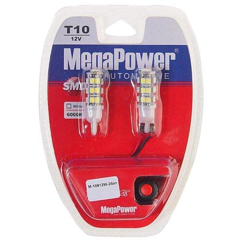 Фото - Лампа автомобильная светодиодная MegaPower 10812W-2блт W5W (T10) 12V 10W 2 шт. 2pcs t10 w5w 80w cree xqb chip led hid