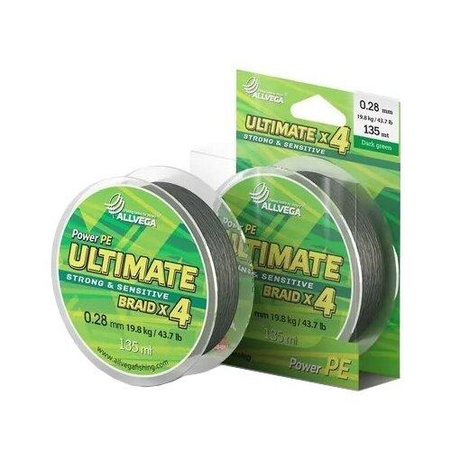 Фото - Плетеный шнур ALLVEGA ULTIMATE dark green 0.28 мм 135 м 19.8 кг плетеный шнур allvega bullit braid dark green 0 24 мм 135 м 16 5 кг