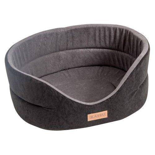 Лежак для собак Katsu Suedine L 58х52х21 см черный/серый