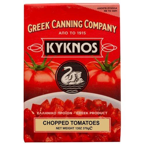 Томаты резаные очищенные в собственном соку KYKNOS картонная коробка 370 г пудовъ томаты сушеные резаные 100 г