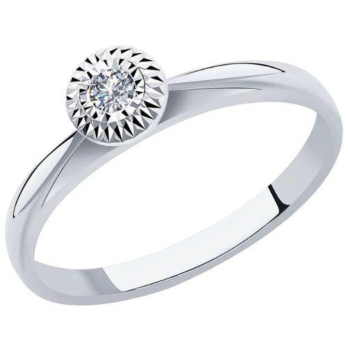 SOKOLOV Кольцо с 1 бриллиантом из белого золота 1012011-3, размер 17.5