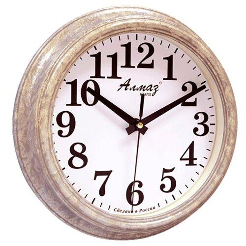 Часы настенные кварцевые Алмаз C51-C54 светло-серый/белый часы настенные кварцевые алмаз c51 c54 коричневый белый