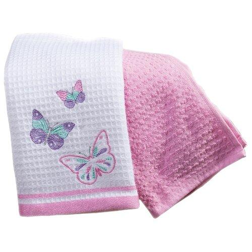Arya Набор полотенец Bahar A Бабочки кухонное 40х60 см экрю, розовый полотенца arya комплект из 6 ти полотенец arya birdy 30 30 см бело розовый