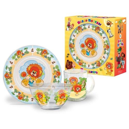 Набор для завтрака PRIORITY Как львенок и черепаха, 1 персона голубой, ярко-оранжевый, оранжевый
