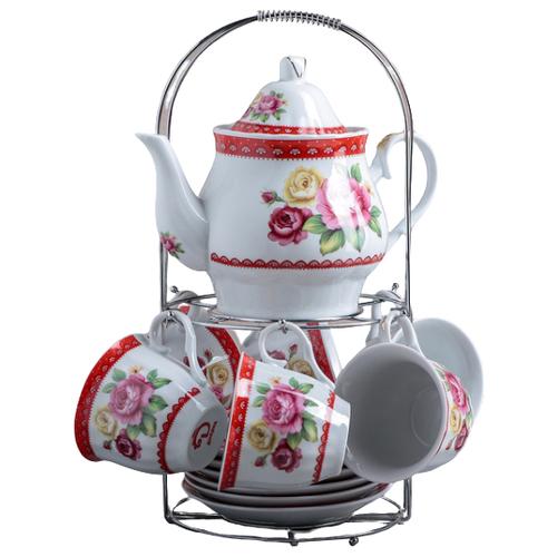 Фото - Чайный сервиз Доляна Первый цвет (1113372), 6 персон белый/красный рукавица доляна детишки 5148654 белый красный